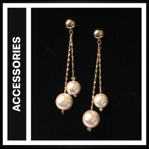Faux Pearl and Gold-plated Earrings